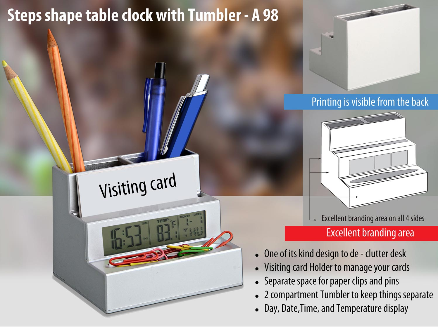 A98 - Steps shape table clock (with tumbler and visiting card holder)