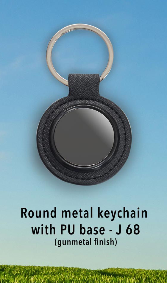 J68 - Round metal keychain with PU base (gunmetal finish)