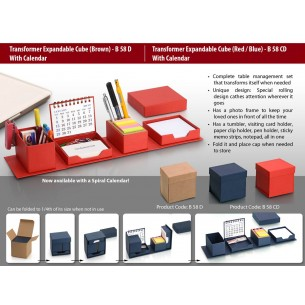 B58D - Transformer expandable cube with Calendar- complete desk set