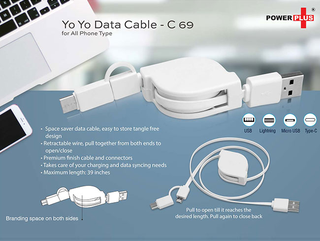 Yo yo 3 in 1 Data & Charging cable (with USB C type port) - C69