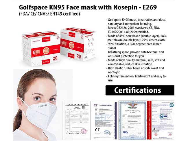 Golfspace KN95 Face mask with Nosepin - E269