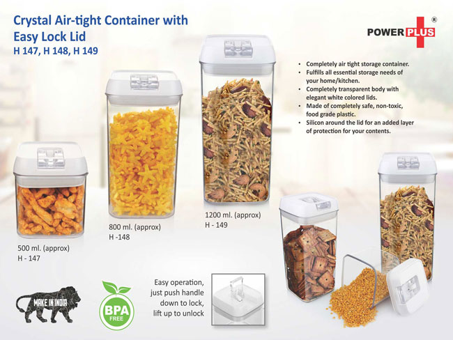 H149 - CRYSTAL AIR-TIGHT CONTAINER WITH EASY LOCK LID (1200 ML) BY POWER PLUS