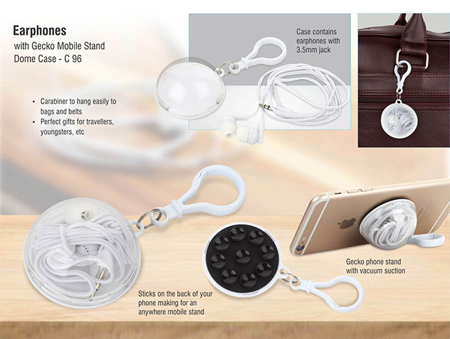 Earphones with gecko mobile stand dome case - C96