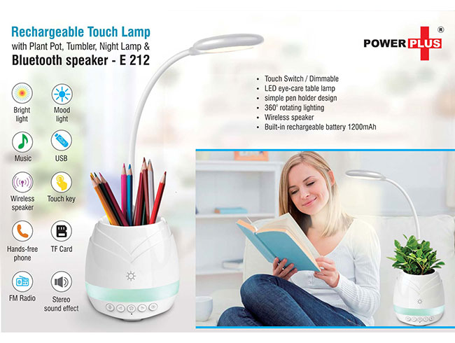 Rechargeable Touch Lamp with Bluetooth speaker, Plant pot, Tumbler and night lamp - E212