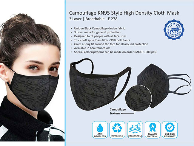Camouflage KN95 style high density cloth mask | 3 layer | Breathable - E278