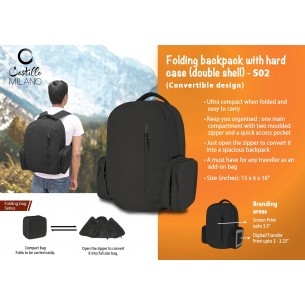 S02 - Folding backpack with hard case (double shell) by Castillo Milano