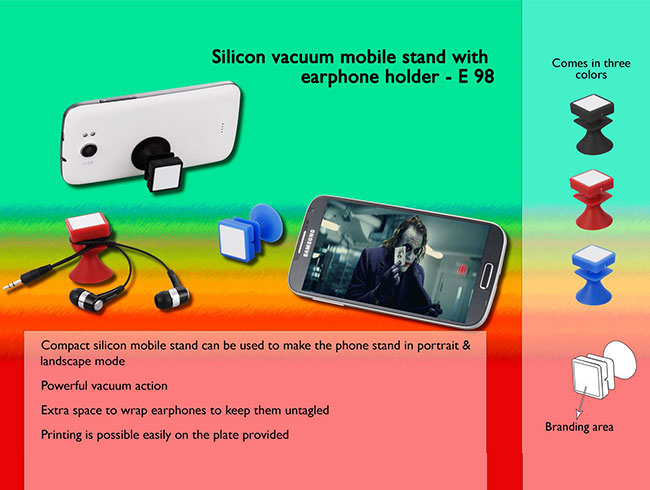 Silicon vacuum mobile stand with earphone holder - E98