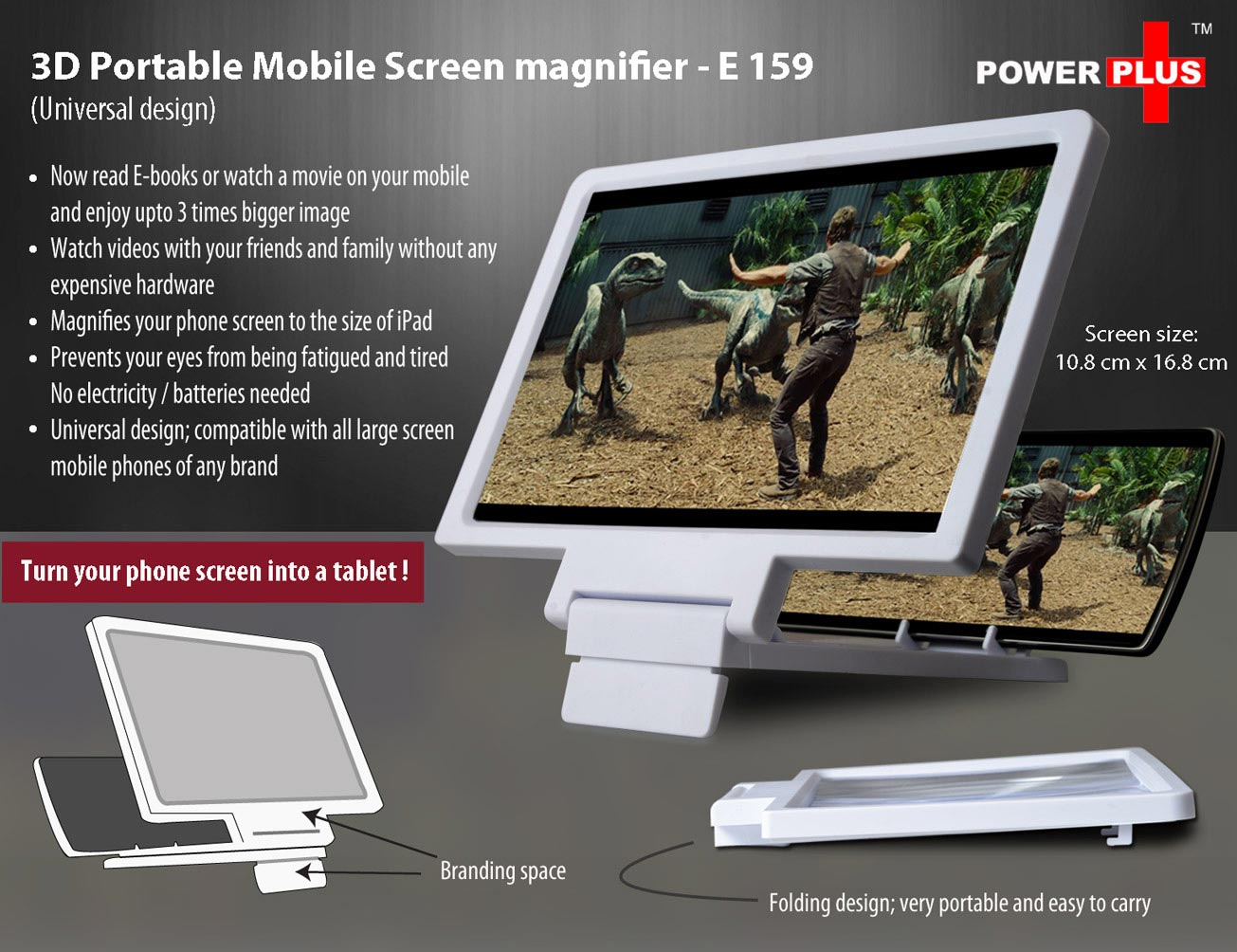 E159 - 3D Portable Mobile Screen Magnifier (Universal Design)
