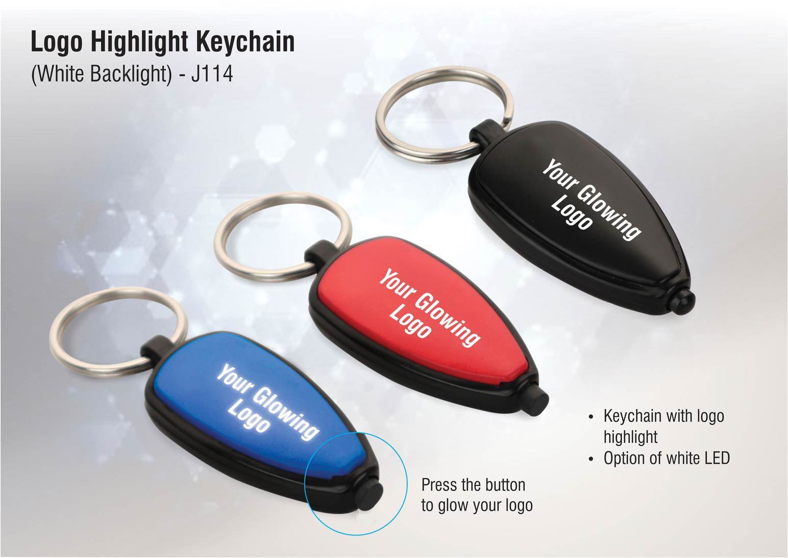 J114 - Logo highlight keychain (white backlight)